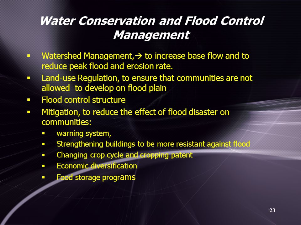 Water Conservation and Flood Control Management