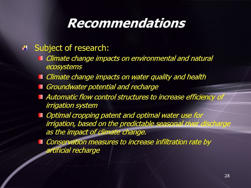 Recommendations Subject of research: