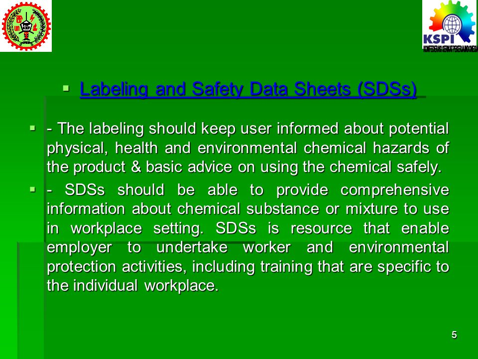 Labeling and Safety Data Sheets (SDSs)