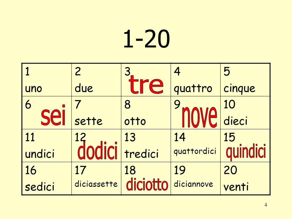 1-20 tre sei nove dodici quindici diciotto 1 uno 2 due 3 4 quattro 5