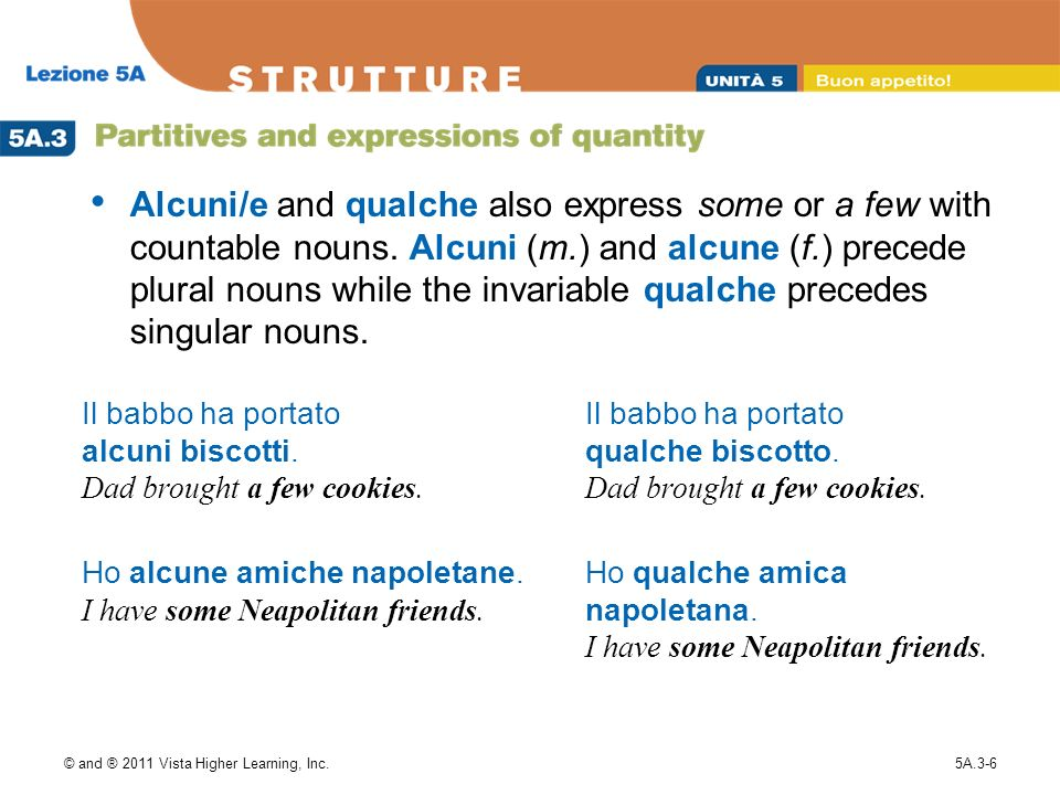Alcuni/e and qualche also express some or a few with countable nouns