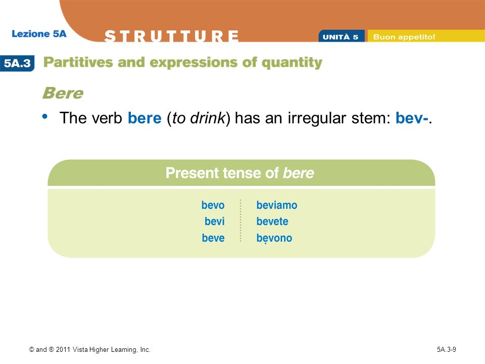 The verb bere (to drink) has an irregular stem: bev-.