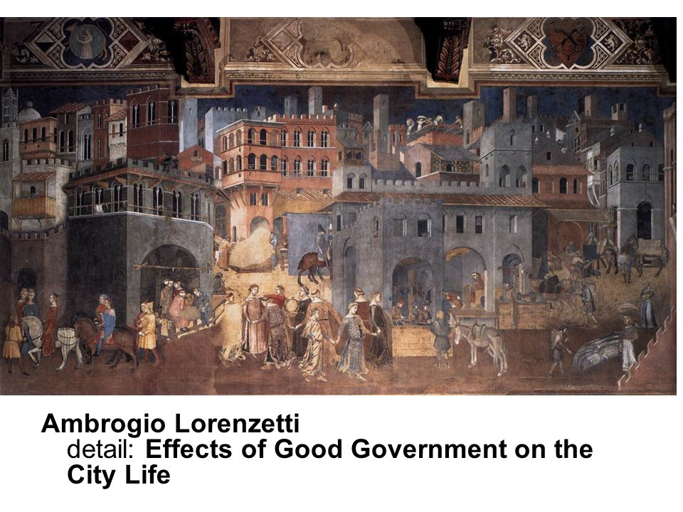 Ambrogio Lorenzetti detail: Effects of Good Government on the City Life