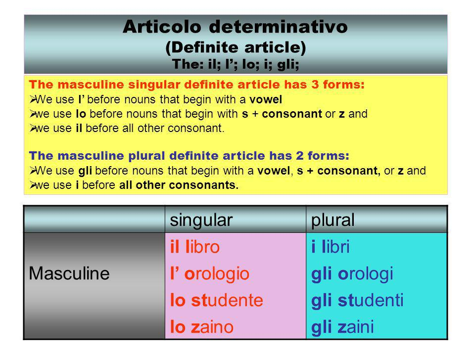 Articolo determinativo (Definite article) The: il; l'; lo; i; gli;