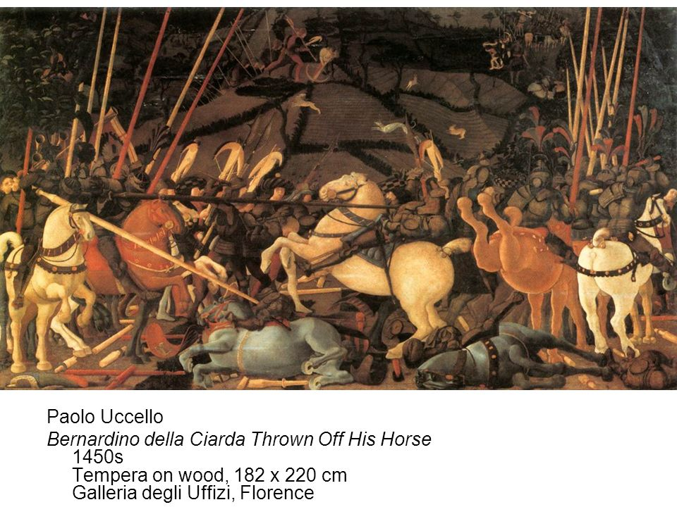 Paolo Uccello Bernardino della Ciarda Thrown Off His Horse 1450s Tempera on wood, 182 x 220 cm Galleria degli Uffizi, Florence.