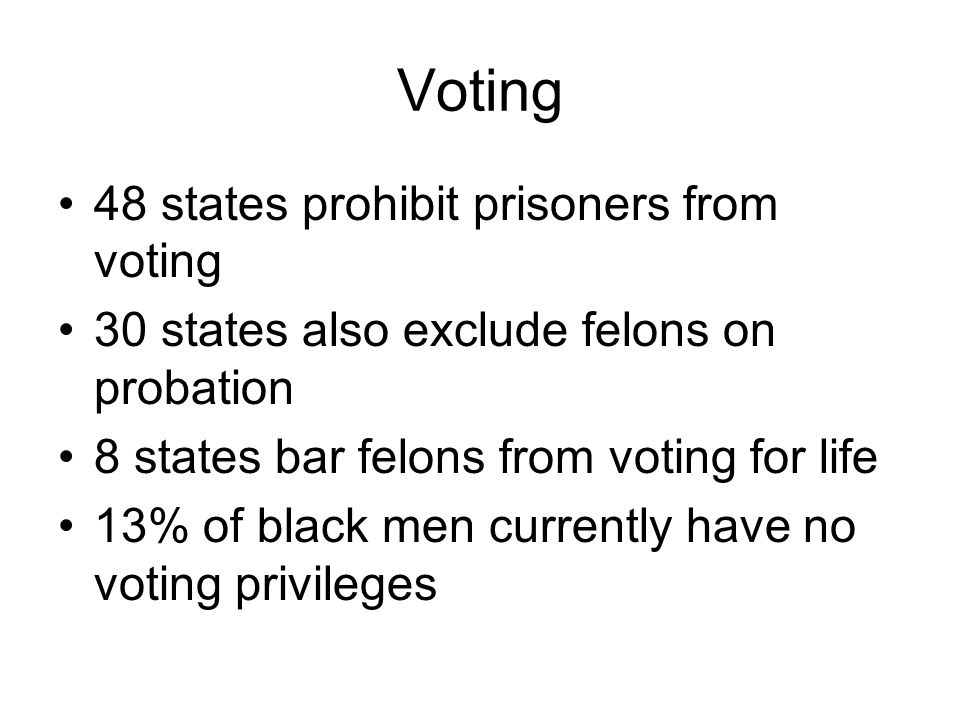 Voting 48 states prohibit prisoners from voting