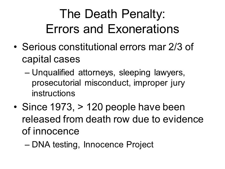 The Death Penalty: Errors and Exonerations