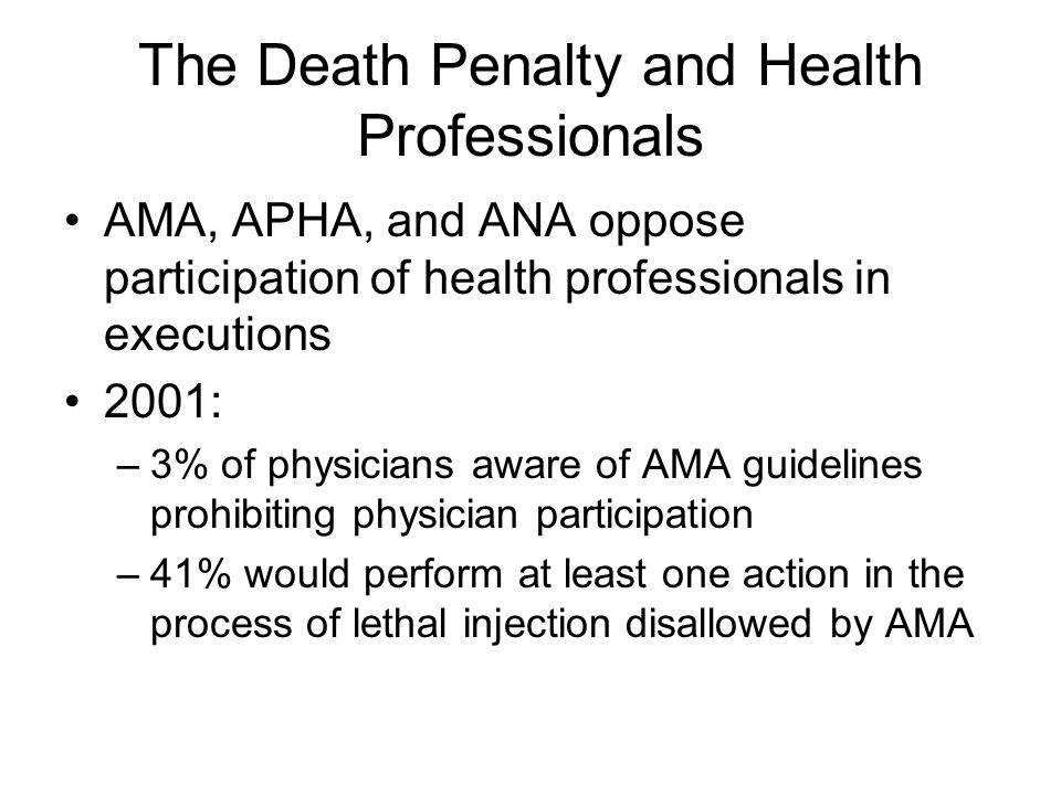 The Death Penalty and Health Professionals
