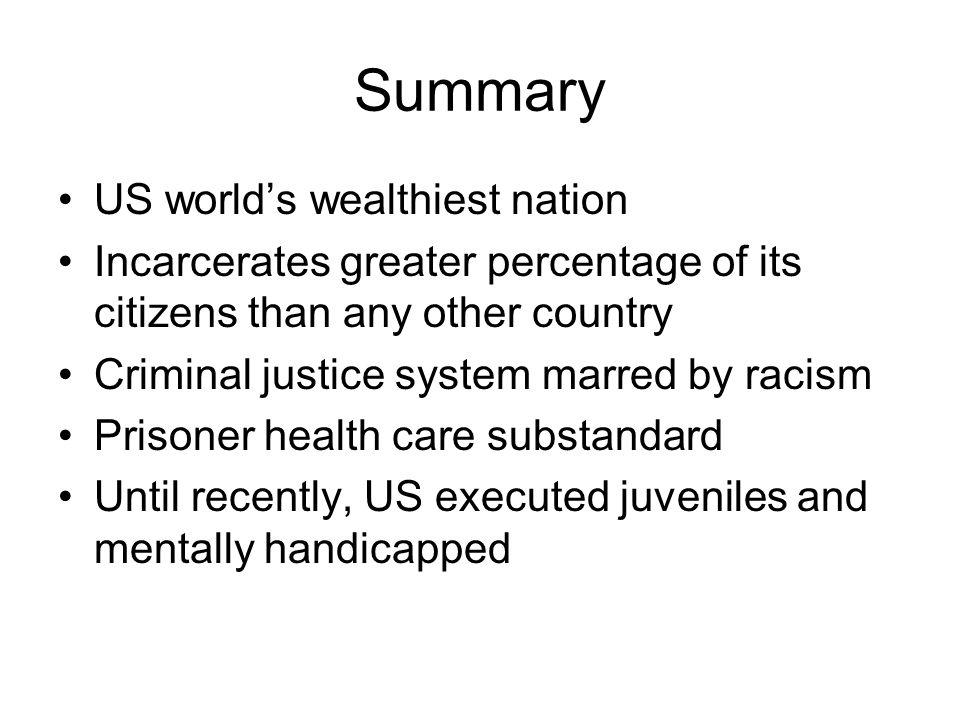 Summary US world's wealthiest nation