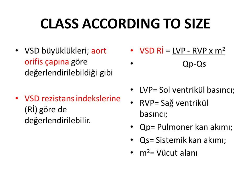 CLASS ACCORDING TO SIZE