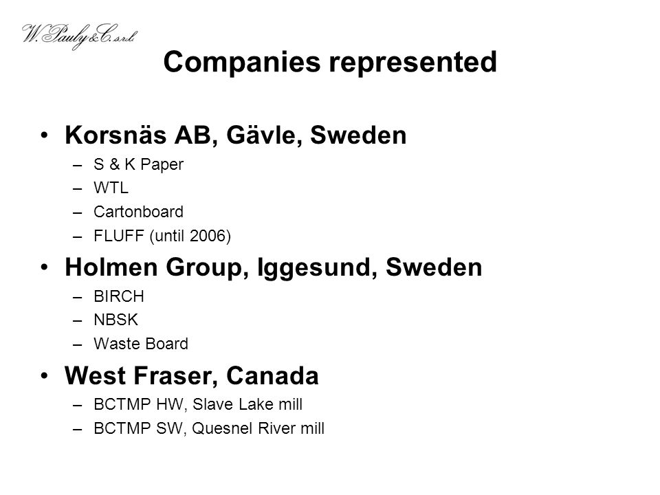Companies represented