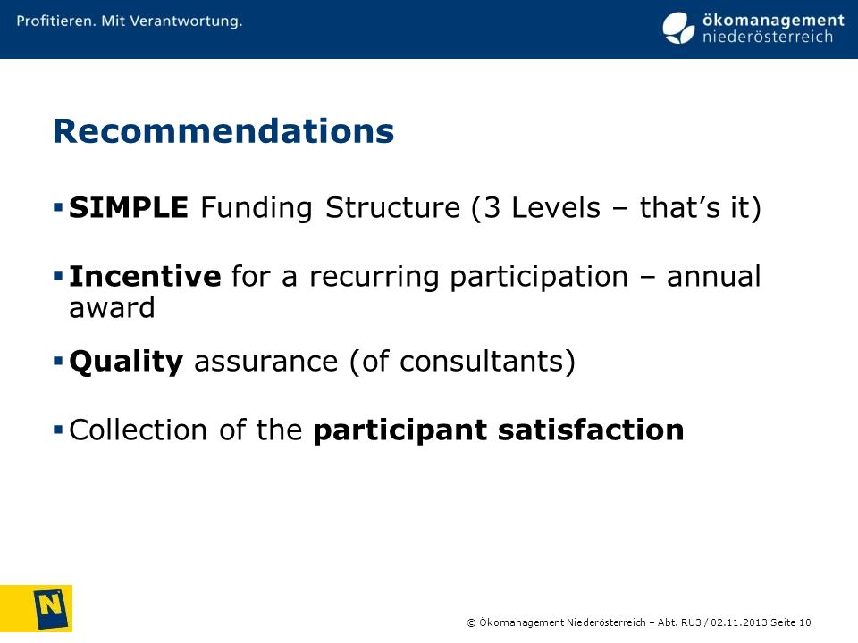 Recommendations SIMPLE Funding Structure (3 Levels – that's it)