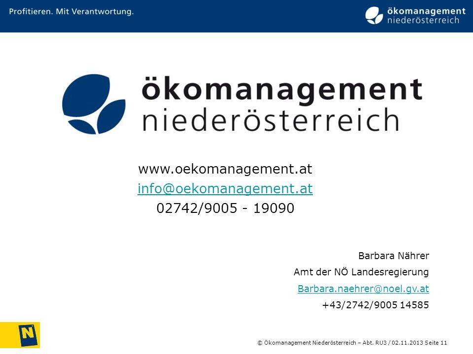 Josef Wolfbeißer www.oekomanagement.at info@oekomanagement.at