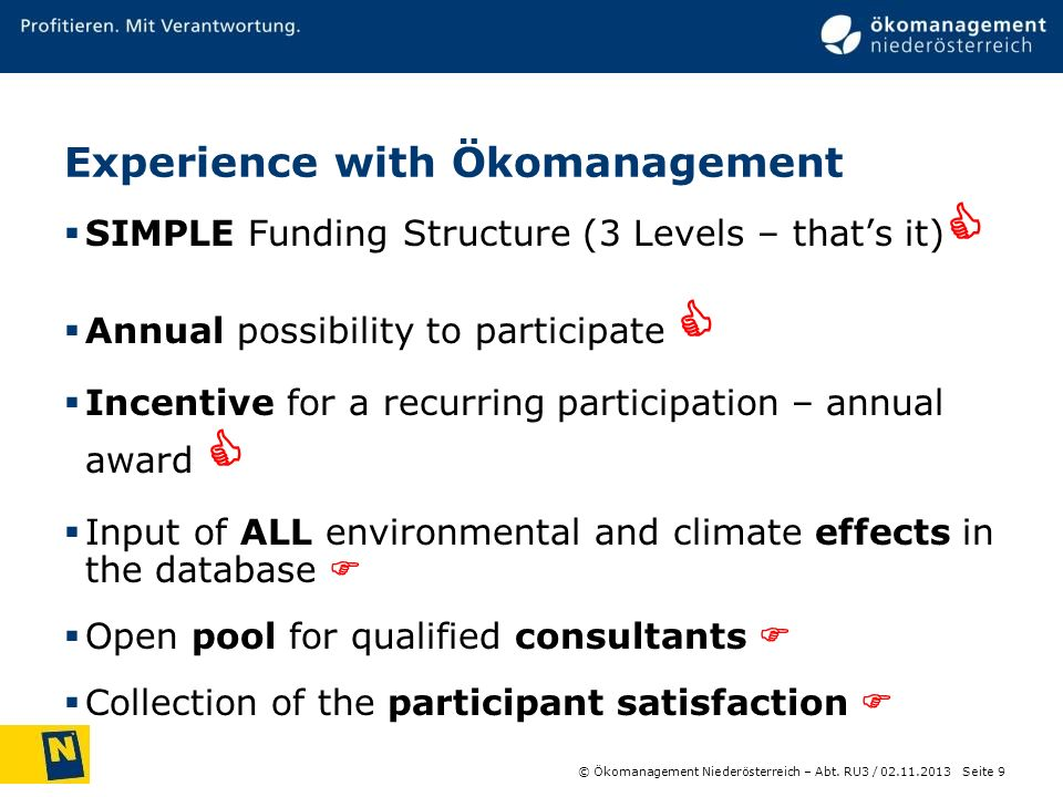 Experience with Ökomanagement