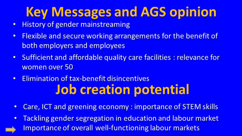 Key Messages and AGS opinion