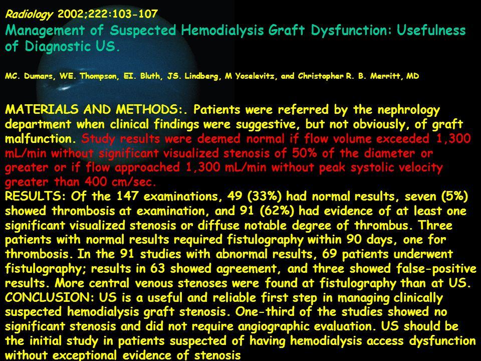 Radiology 2002;222:103-107 Management of Suspected Hemodialysis Graft Dysfunction: Usefulness of Diagnostic US.