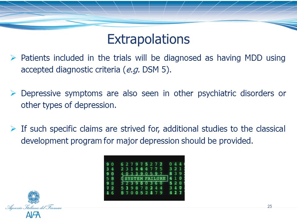 Extrapolations Patients included in the trials will be diagnosed as having MDD using accepted diagnostic criteria (e.g. DSM 5).