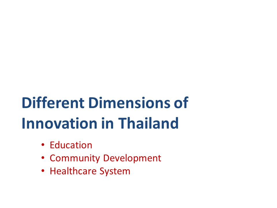 Different Dimensions of Innovation in Thailand