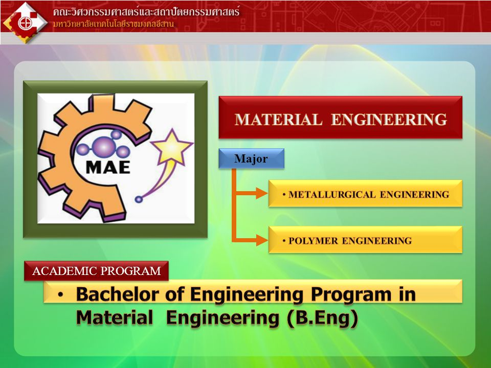 Bachelor of Engineering Program in Material Engineering (B.Eng)
