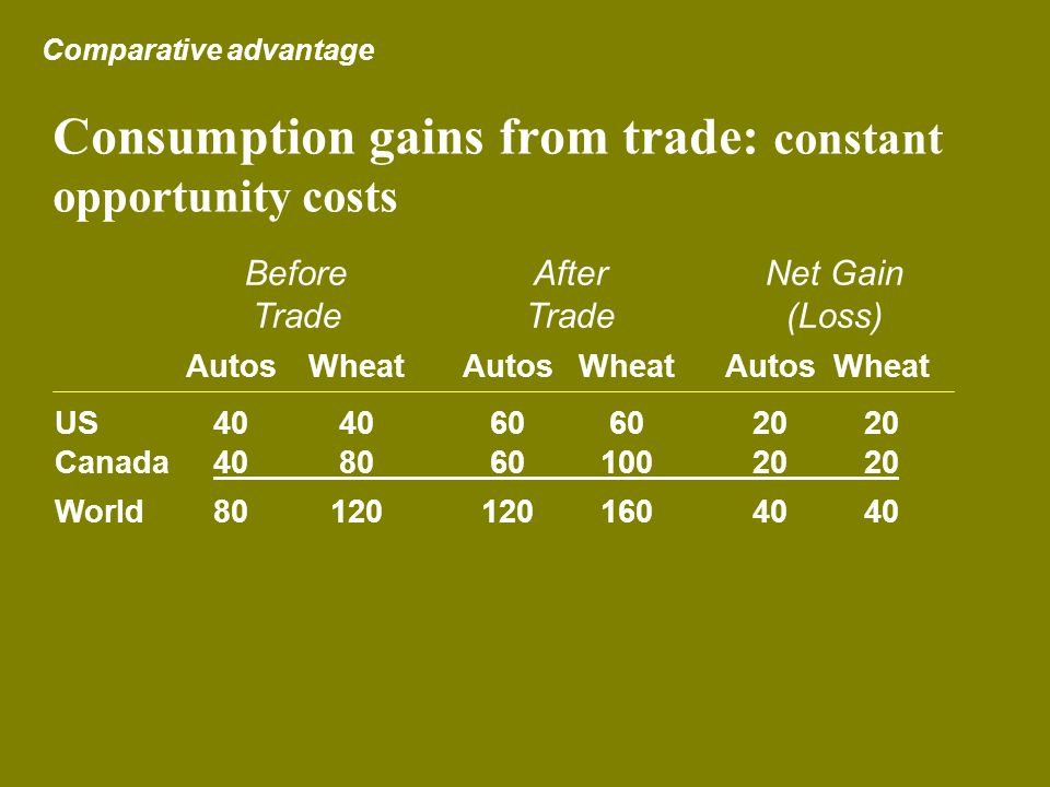 Consumption gains from trade: constant opportunity costs