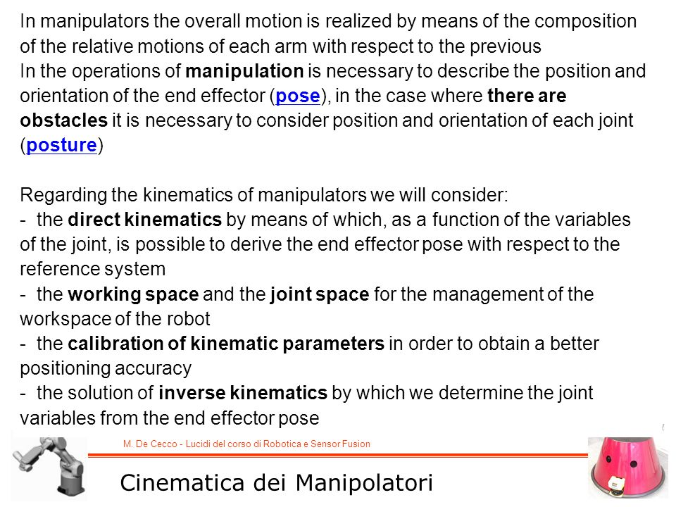 Cinematica dei Manipolatori