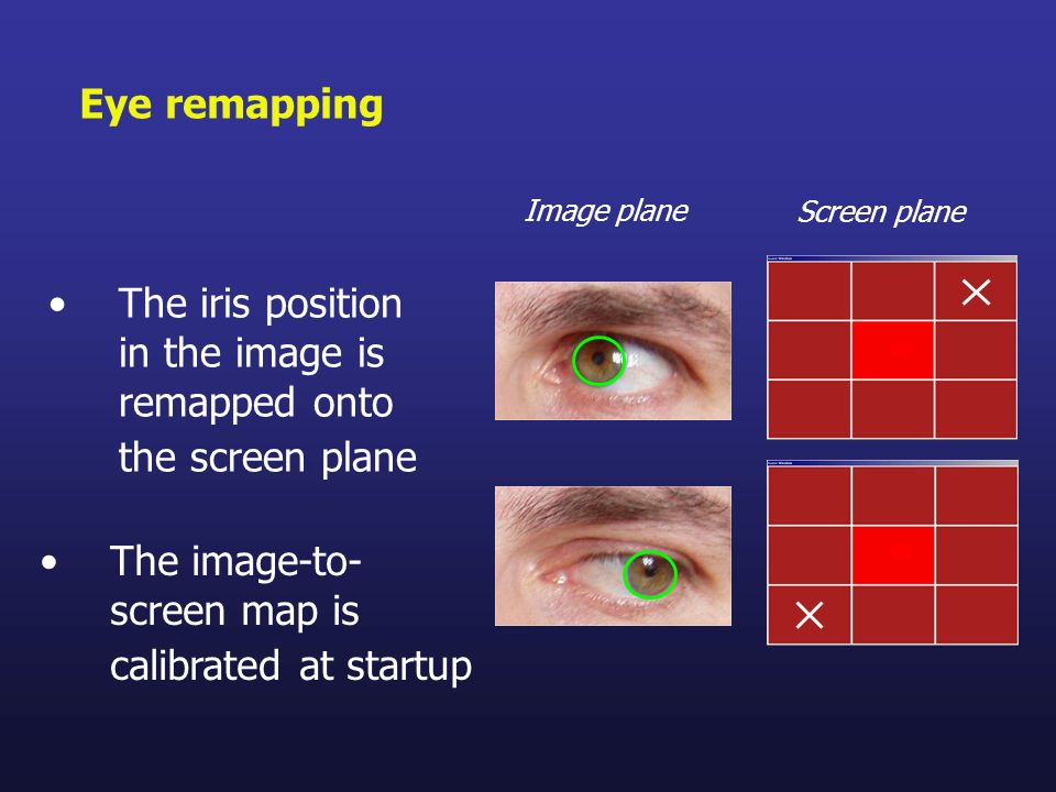 The iris position in the image is remapped onto the screen plane