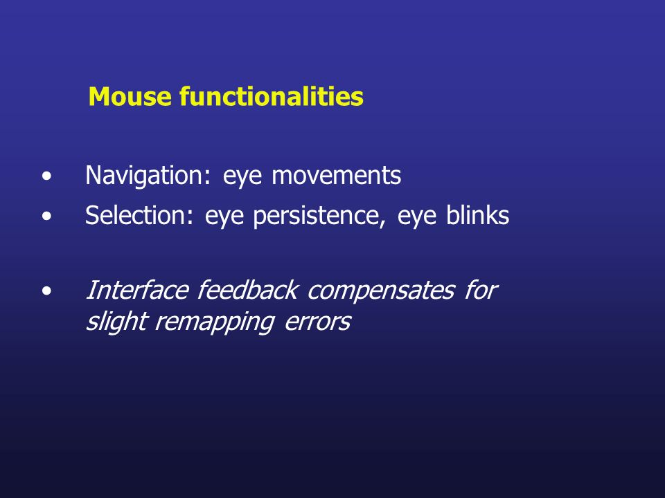 Mouse functionalities