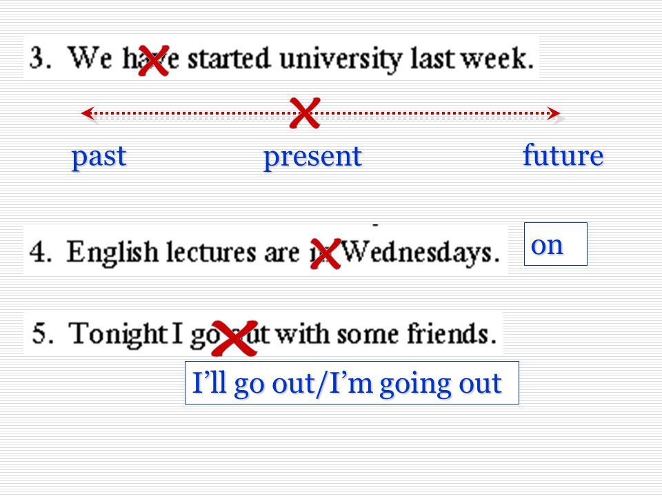 x x future present past on x x I'll go out/I'm going out
