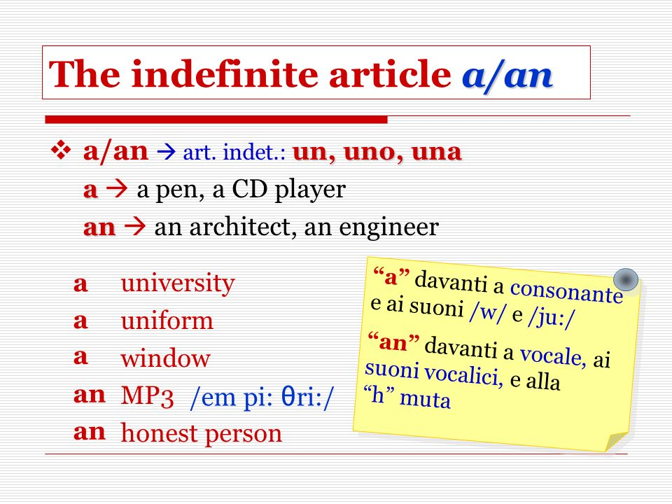 The indefinite article a/an