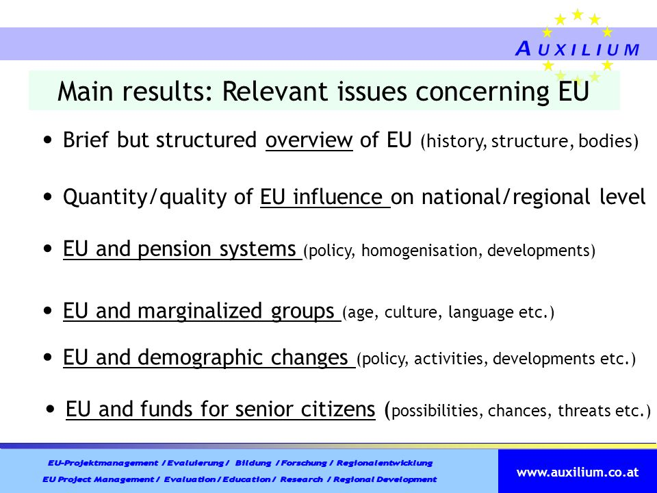 Main results: Relevant issues concerning EU