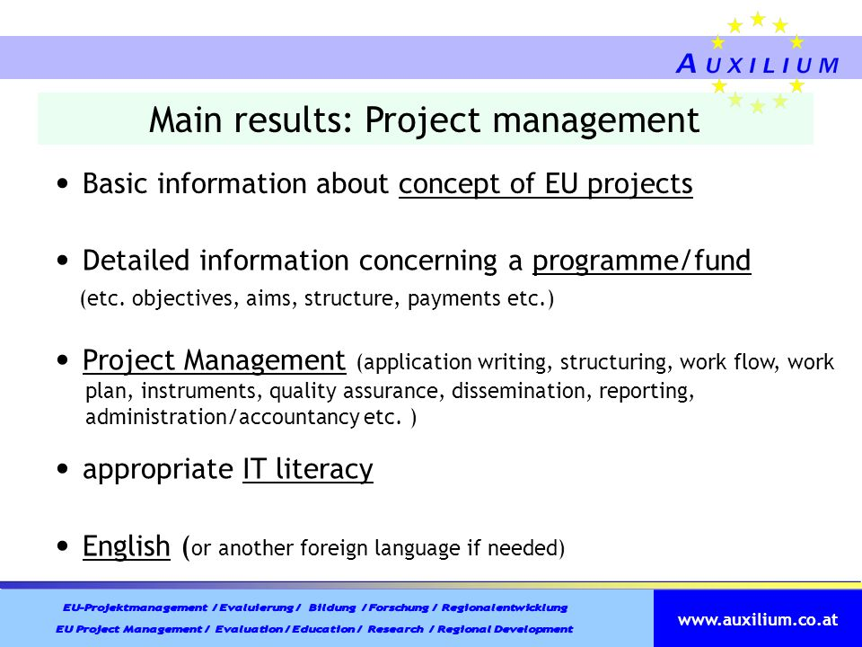 Main results: Project management