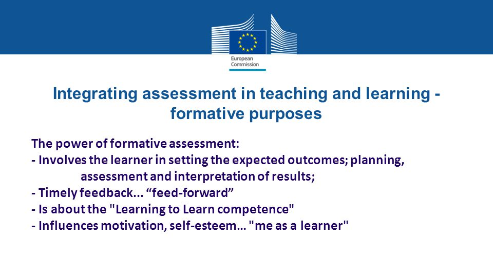 Integrating assessment in teaching and learning - formative purposes