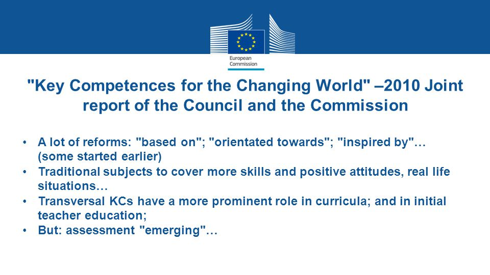 Key Competences for the Changing World –2010 Joint report of the Council and the Commission
