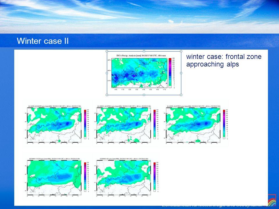 Winter case II winter case: frontal zone approaching alps