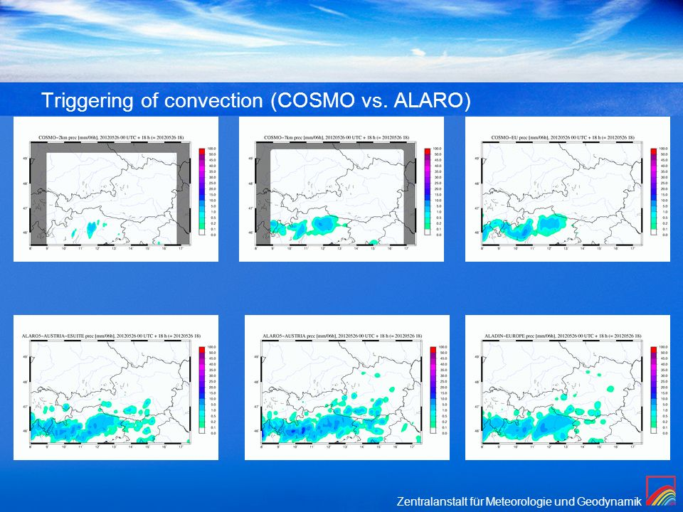 Triggering of convection (COSMO vs. ALARO)