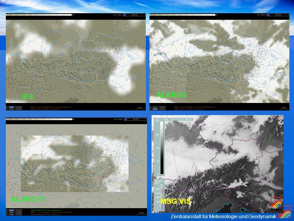 Beispiel Hochnebel I ALARO5 IFS ALARO10 MSG VIS Synoptikertreffen
