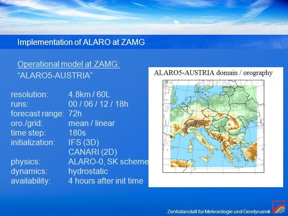 Implementation of ALARO at ZAMG