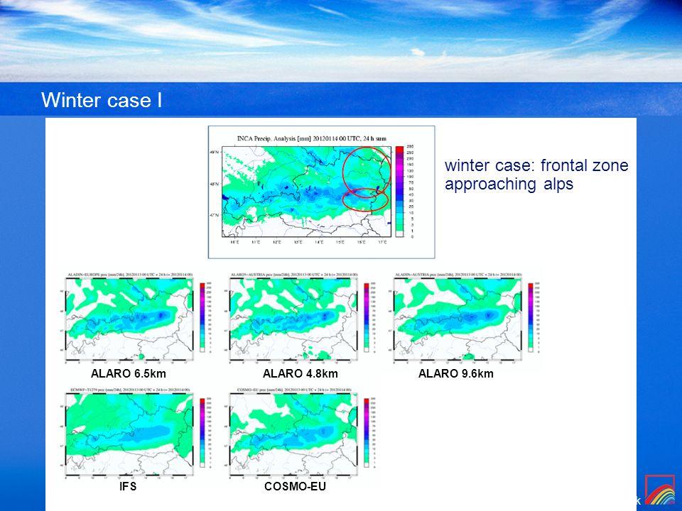 Winter case I winter case: frontal zone approaching alps ALARO 6.5km