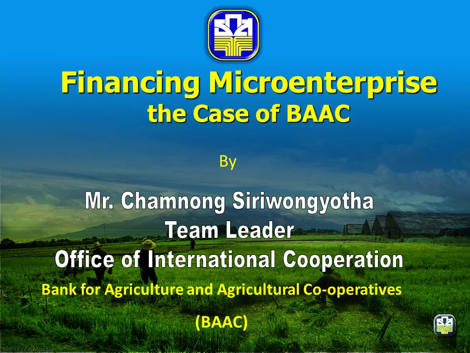 Financing Microenterprise the Case of BAAC