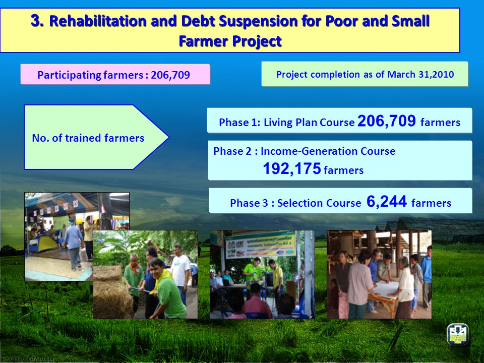 3. Rehabilitation and Debt Suspension for Poor and Small Farmer Project
