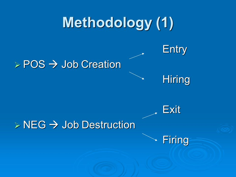 Methodology (1) Entry POS  Job Creation Hiring Exit