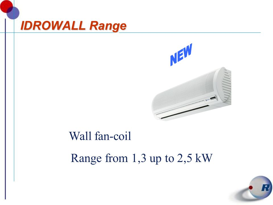 IDROWALL Range NEW Wall fan-coil Range from 1,3 up to 2,5 kW