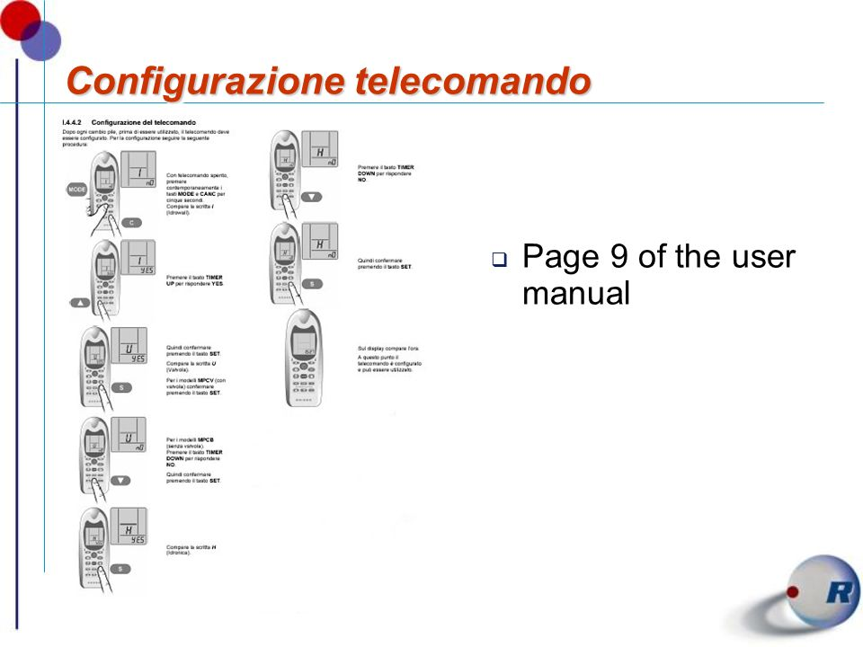 Configurazione telecomando