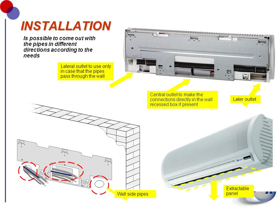 INSTALLATION Is possible to come out with the pipes in different directions according to the needs.