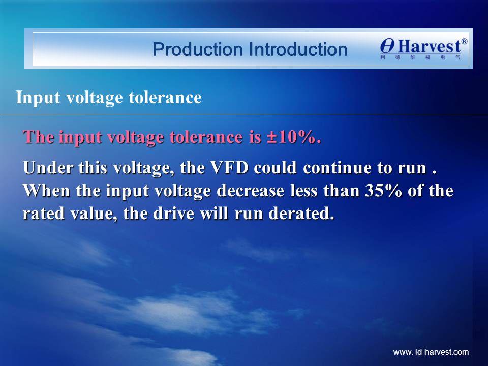Production Introduction Input voltage tolerance