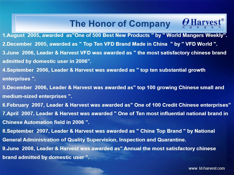 The Honor of Company 1.August 2005, awarded as One of 500 Best New Products by World Mangers Weekly .