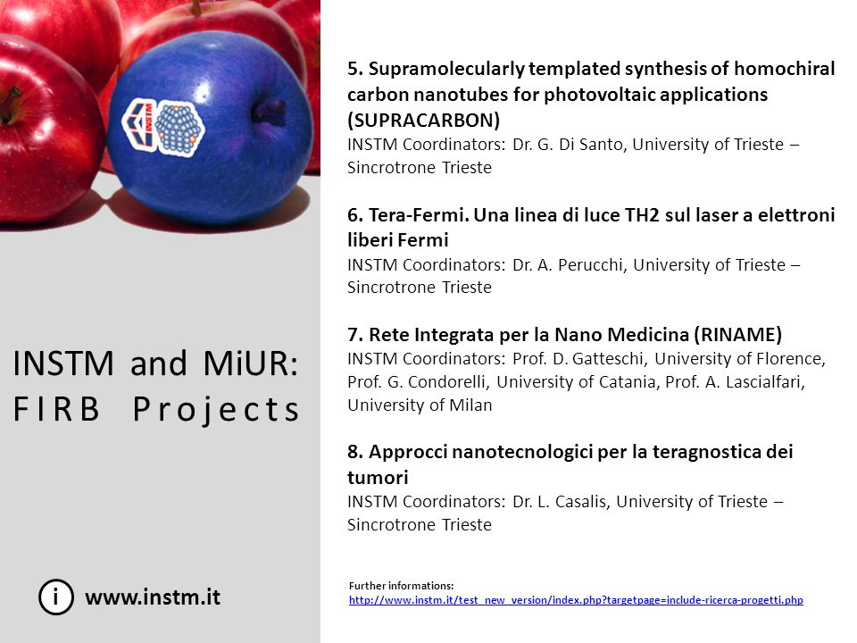 INSTM and MiUR: FIRB Projects