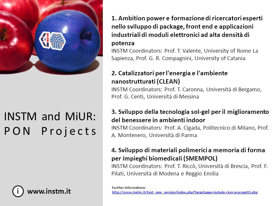 INSTM and MiUR: PON Projects