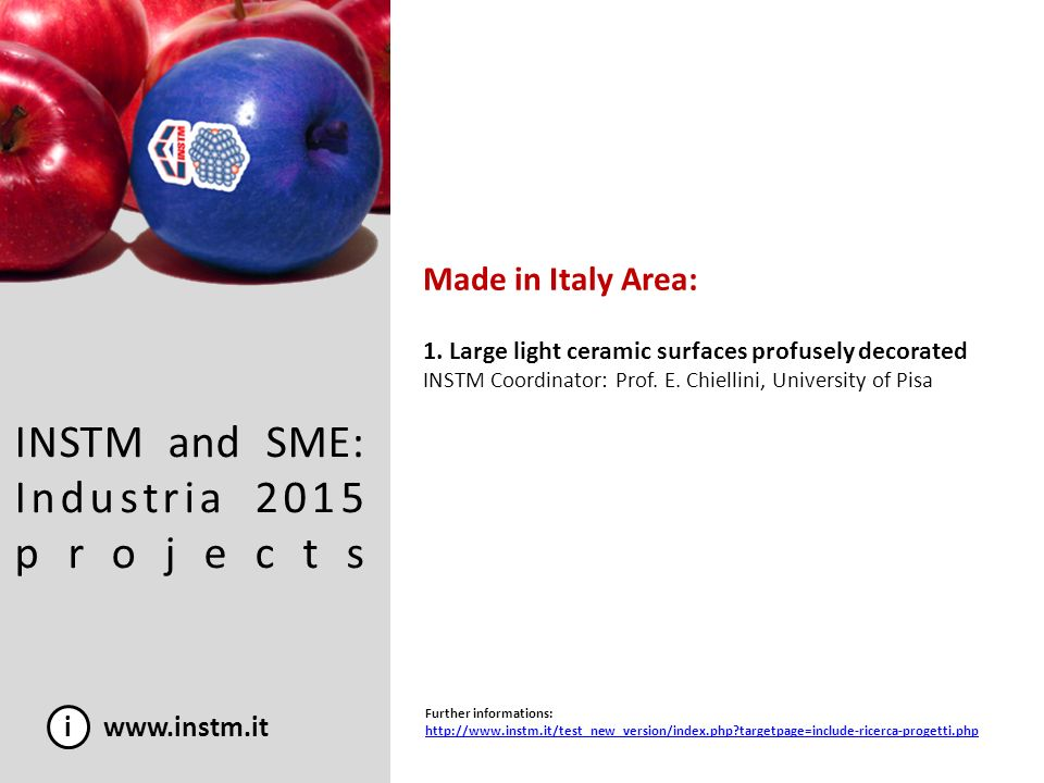 INSTM and SME: Industria 2015 projects Made in Italy Area: