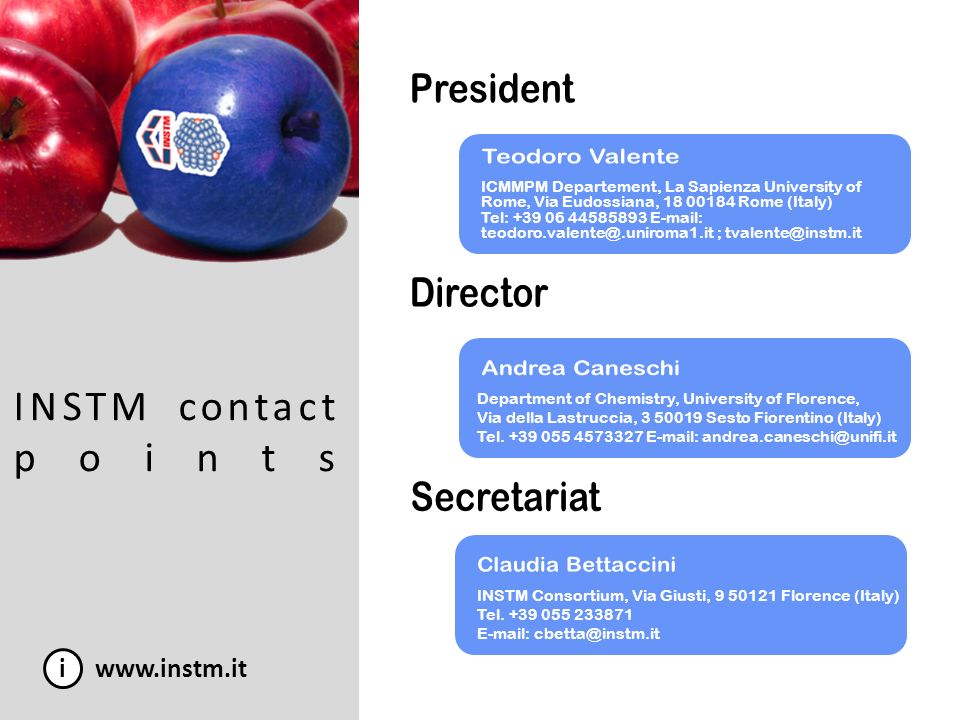 INSTM contact points President Teodoro Valente Director